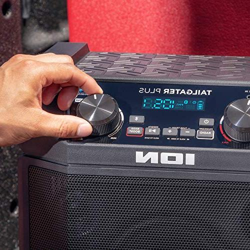 ION Audio Tailgater | Wireless Rechargeable Portable Speaker System Life, & Cable, AM/FM Radio Charging Tablets