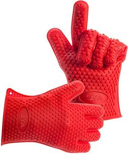AYL Silicone Heat Resistant Grilling BBQ Gloves for Cooking,